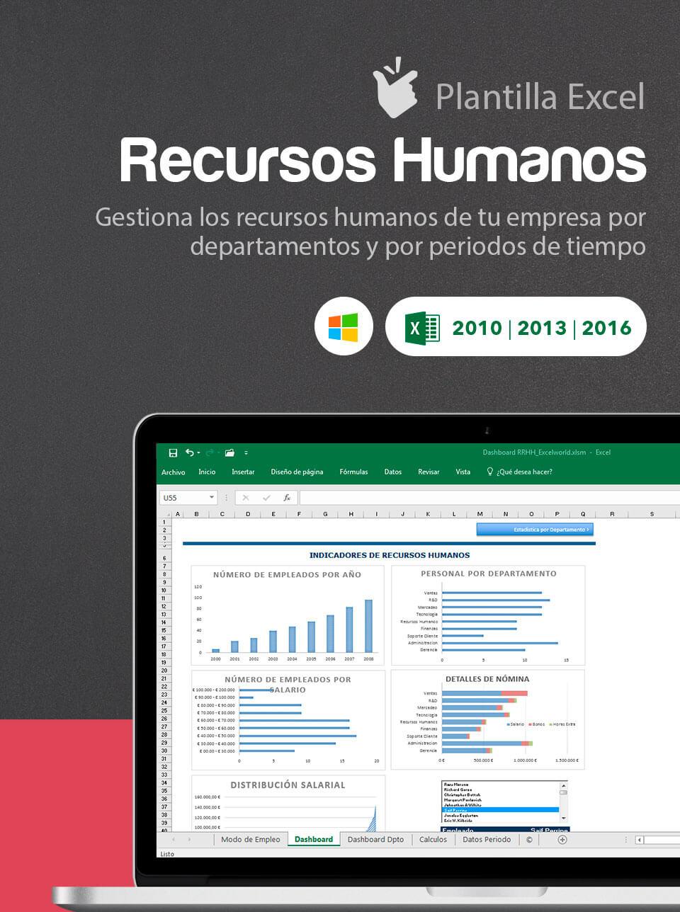 Plantilla Dashboard Recursos Humanos | Plantilla Excel recursos ...