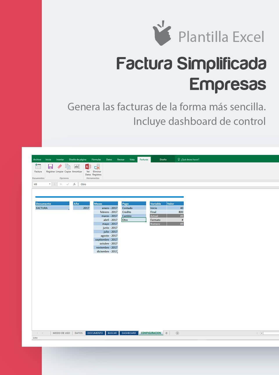 Plantilla de Facturas Simplificadas para empresas | Factufácil