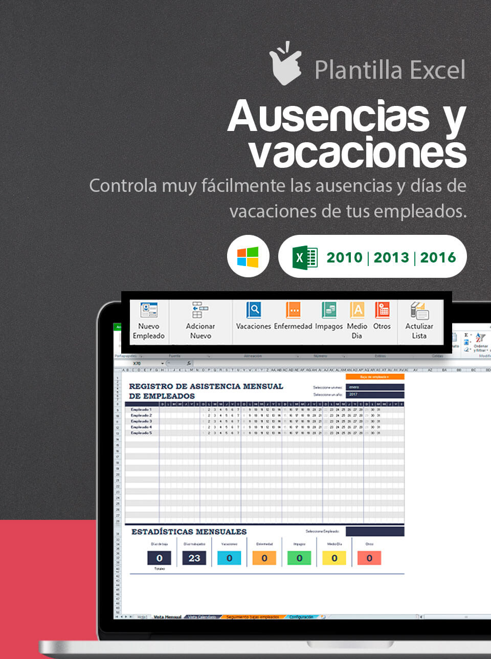 Plantilla Control de Ausencias y Vacaciones | Cuadrante excel ...