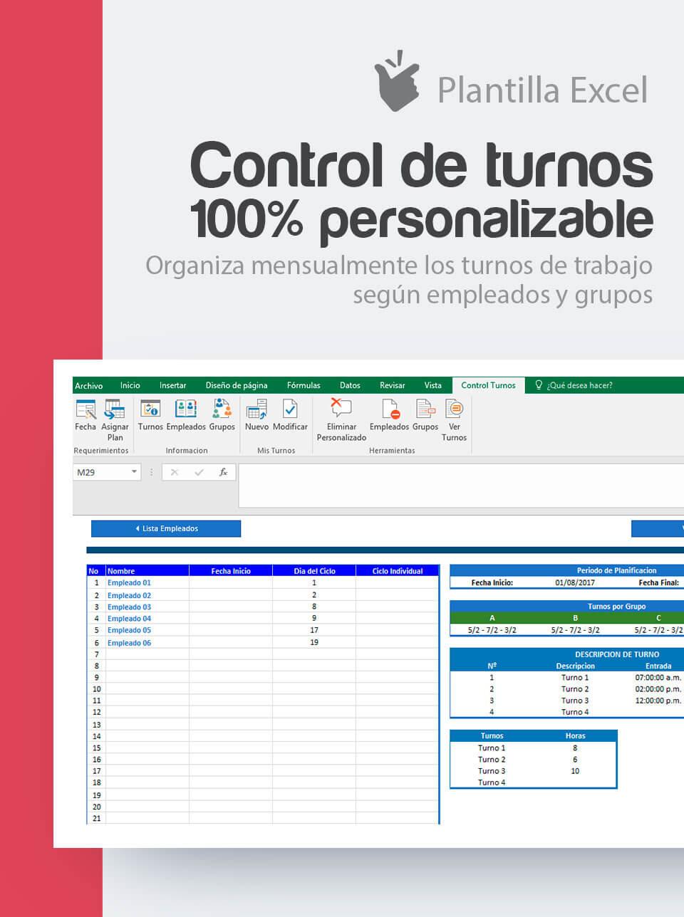 Plantilla Control de Turnos Personalizable | Cuadrante en excel turnos