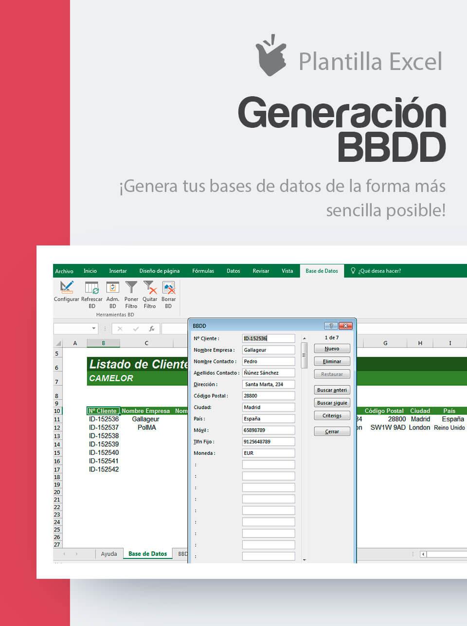 Plantilla Generación BBDD | Plantilla Base de Datos | Base de datos ...