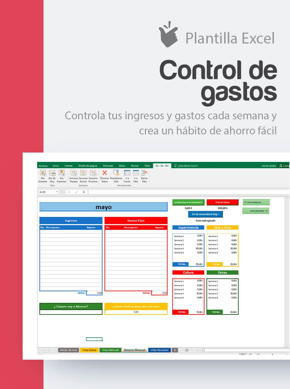 plantilla control de gastos excel ahorro familiar control gastos