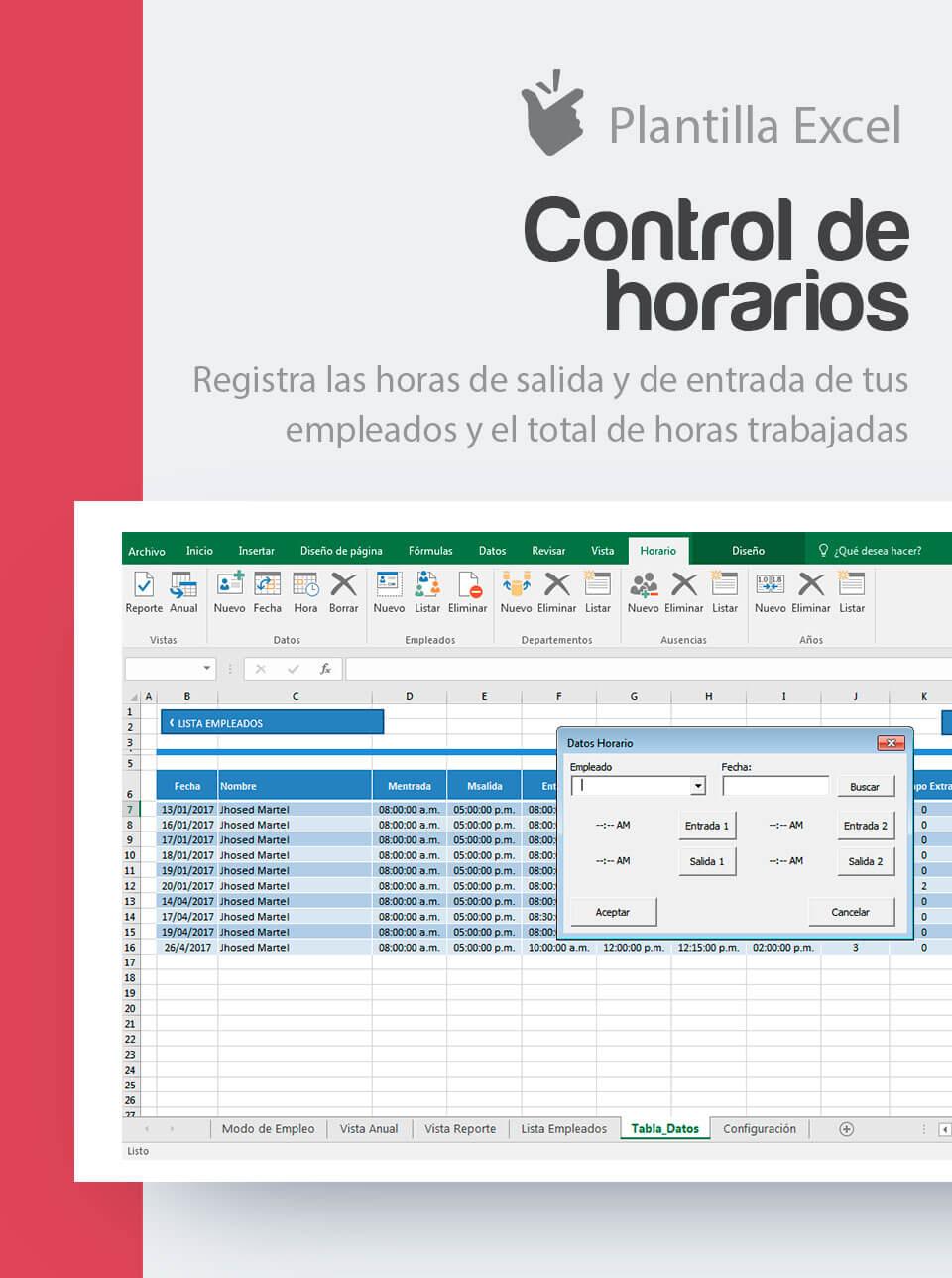 Plantilla Control de Horarios y Horas Trabajadas | Excel Horario Laboral