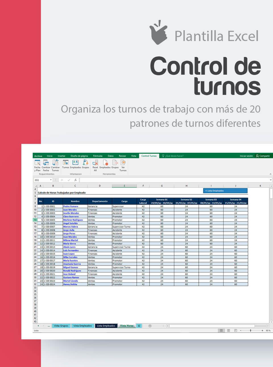 Plantilla Control de Turnos de Trabajo | Cuadrante turnos de ...