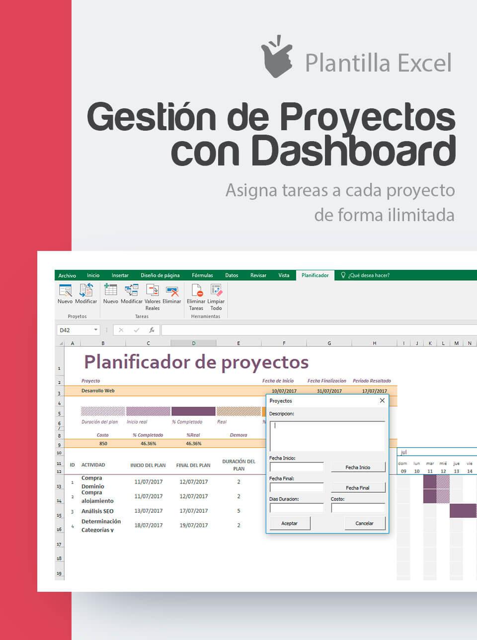 Plantilla Gestión de Proyectos con Dashboard | Control de proyectos