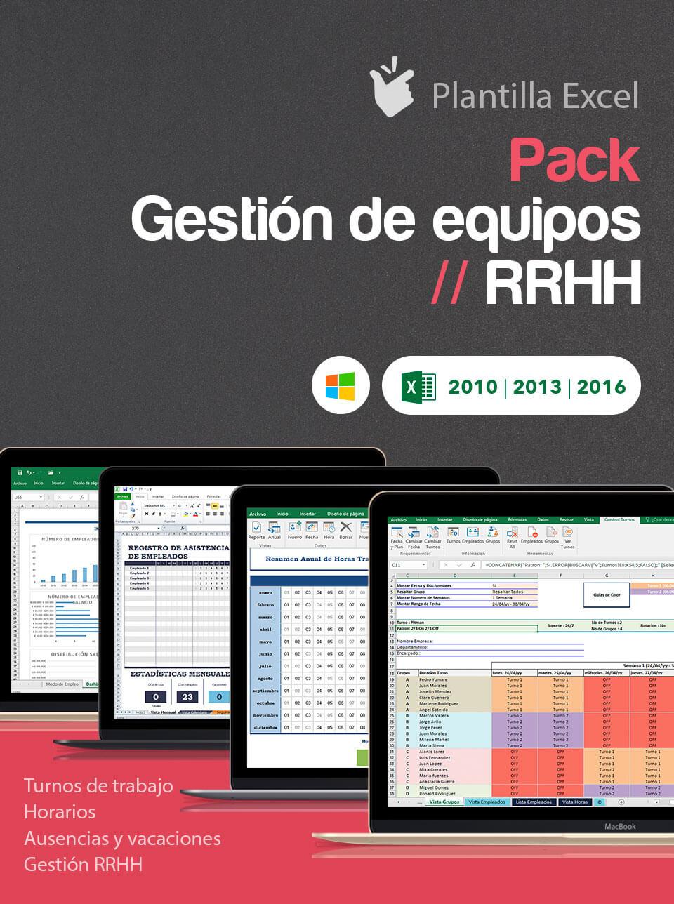 Pack Gestión de Equipos | RRHH | Excel aplicado a recursos humanos |