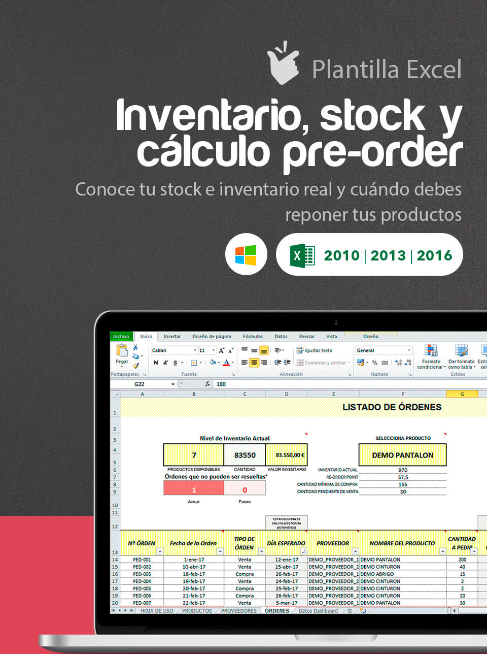 Plantilla Inventario, Stock y Cálculo Pre-Order | Plantilla de ...