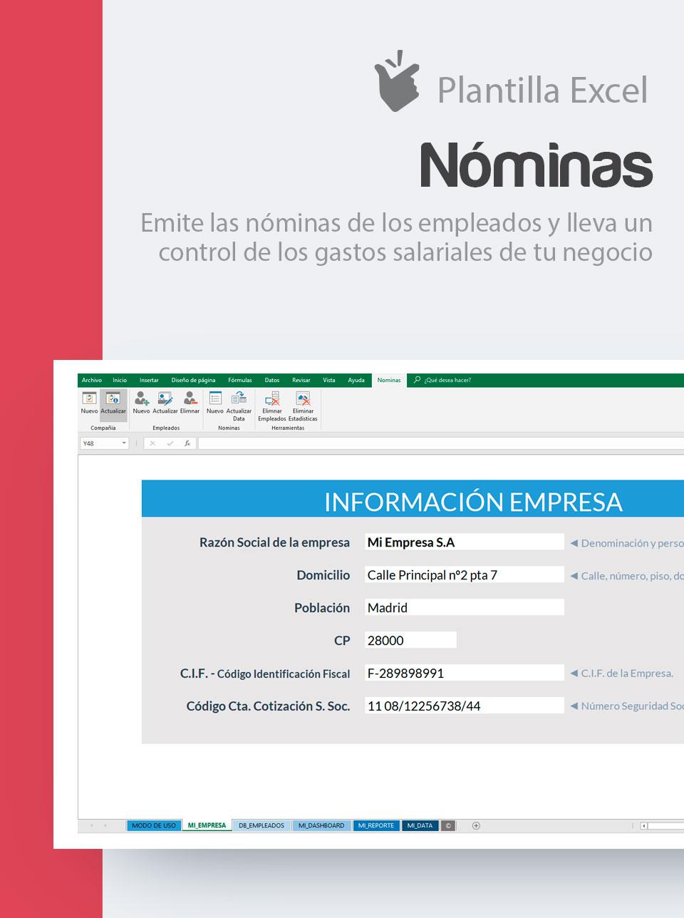 Plantilla Nóminas | Descargar plantilla recibo salariales | Modelo ...
