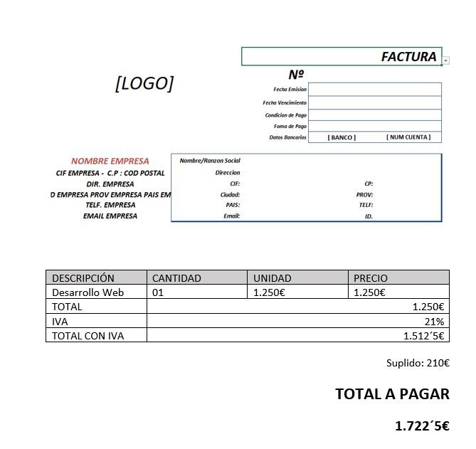 ejemplo de factura con suplido factufácil