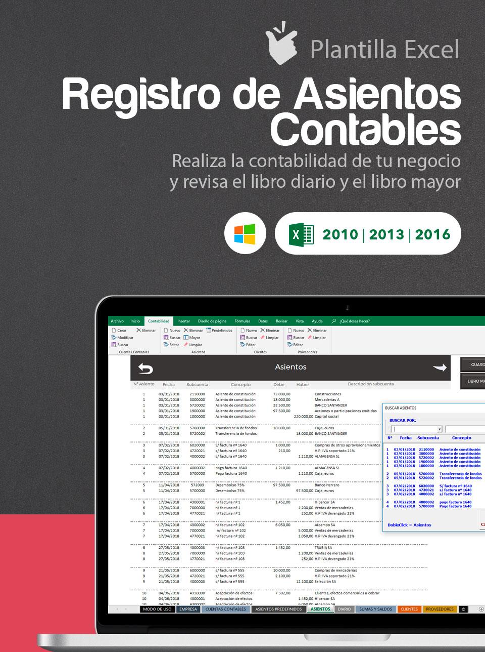 Plantilla Excel asientos contables